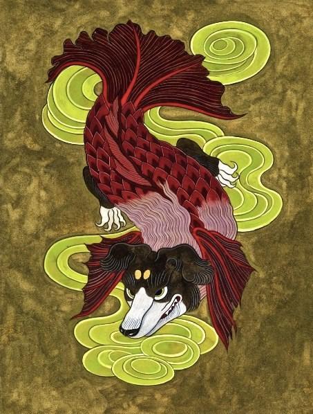 石黑亞矢子作品 狗臉魚 a fish with a dog face 水墨,水彩,礦物的粉,和紙